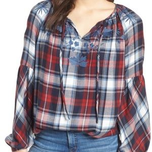Vince camuto plaid vneck NWT xl embroidered